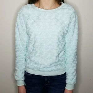 Light Blue FAUX Fur Rose Swirled Sweater